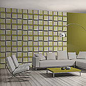 Muriva 3D Squares Wallpaper - Green