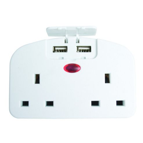 Twin UK Socket To European Travel Adaptor with Twin USB Ports