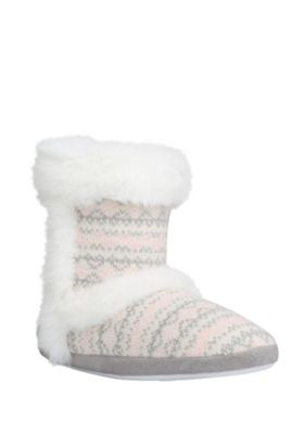 buy f f faux fur trim fair isle bootie slippers from our. Black Bedroom Furniture Sets. Home Design Ideas