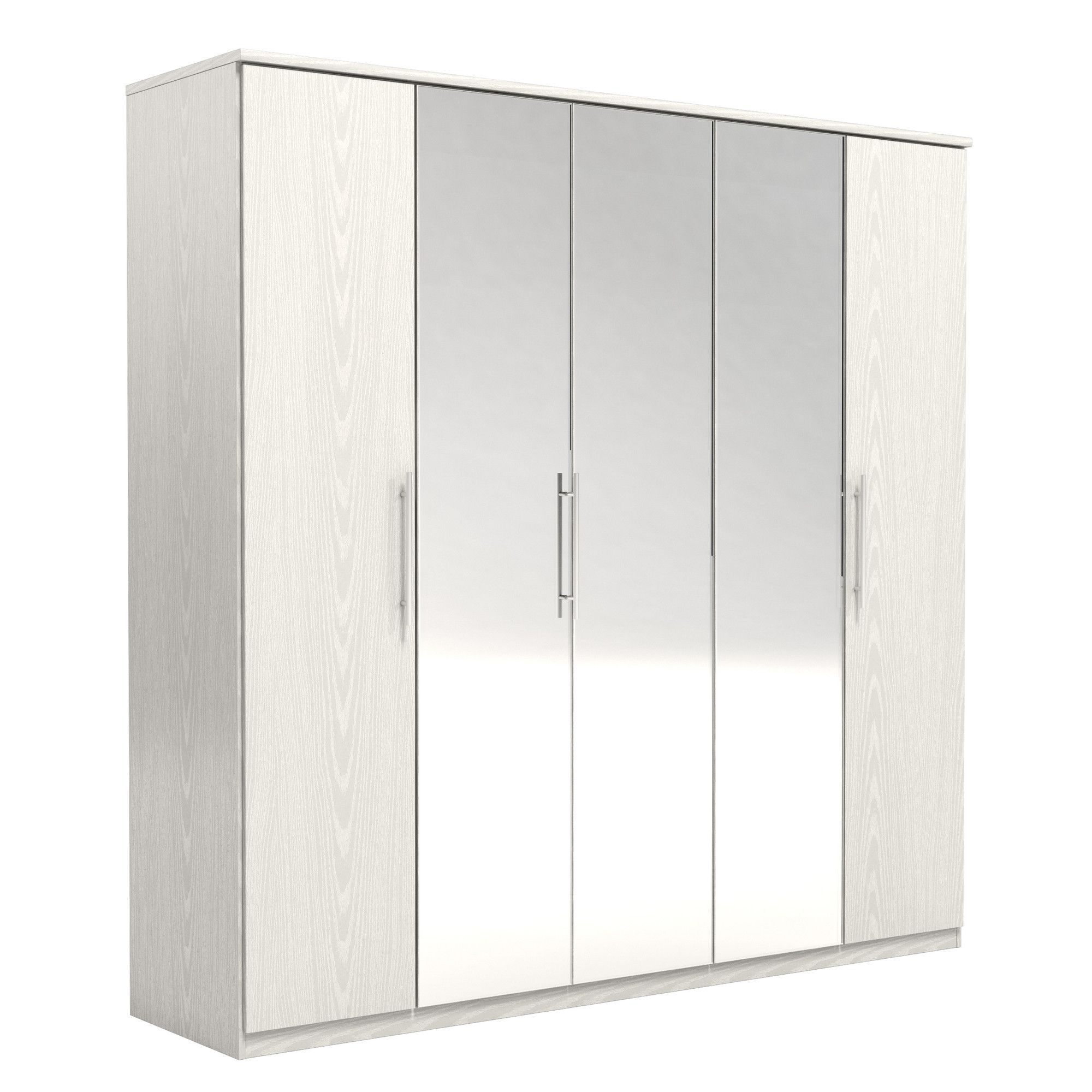Urbane Designs Prague 5 Door Wardrobe - White at Tesco Direct