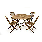 BrackenStyle Hampton Folding Round Teak Set - Seats 4