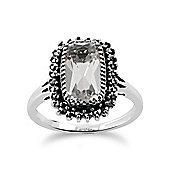Gemondo 925 Sterling Silver 2.00ct Rock Crystal & Marcasite Cluster Ring
