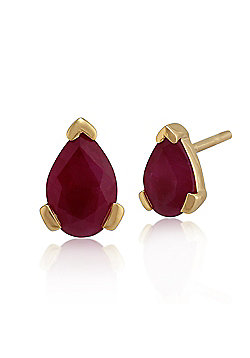 Gemondo 9ct Yellow Gold 0.88ct Ruby Pear Stud Earrings