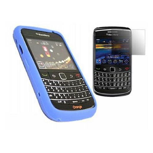 iTALKonline Blue Silicone Case, LCD Screen protector and Cleaning Cloth - For BlackBerry 9700 Bold, 9780 Onyx