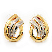 Small Two Tone Teardrop Stud Earrings - 17mm Length