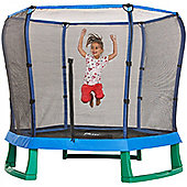 Plum 7ft Junior Jumper Trampoline and Enclosure - Blue & Green