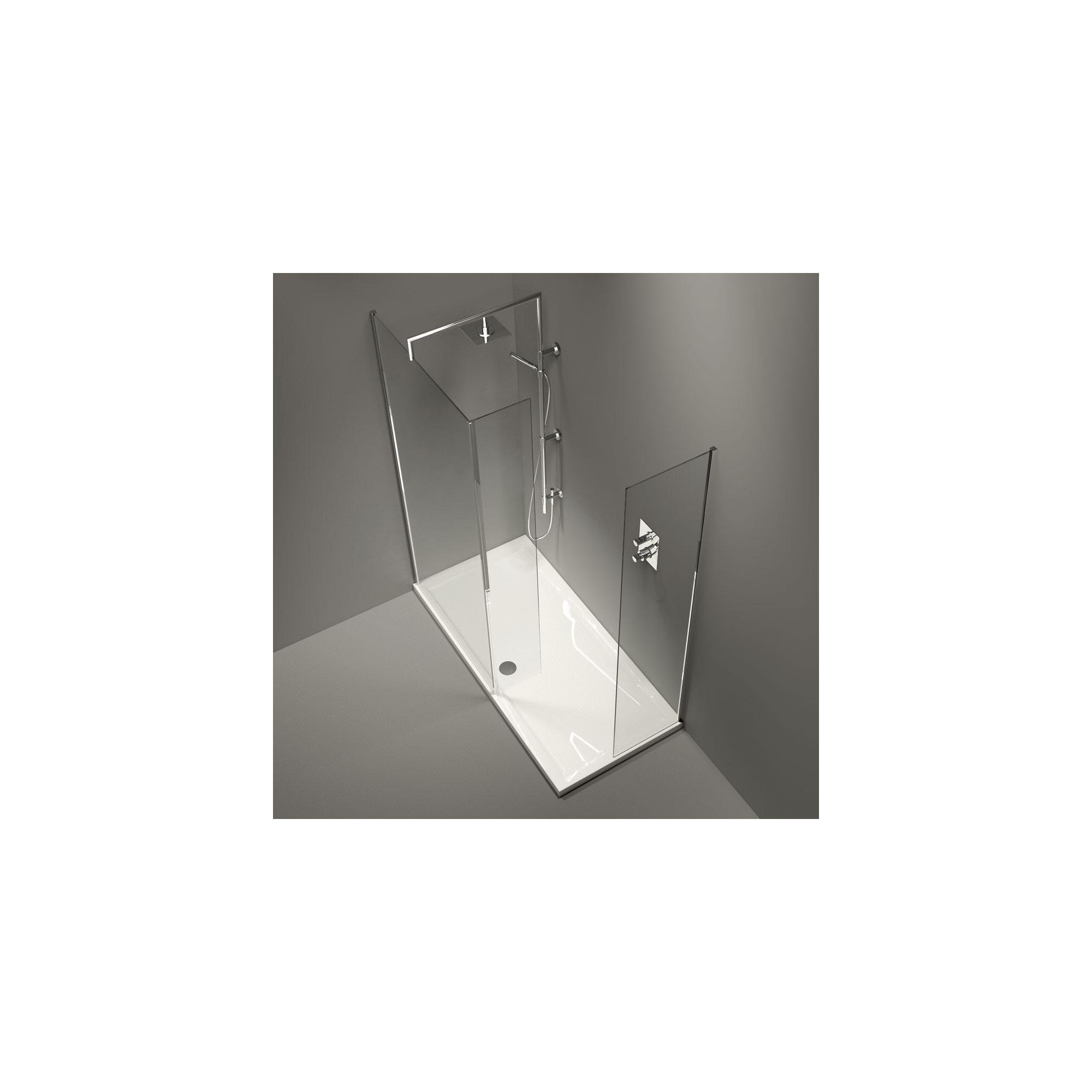 Merlyn Series 9 Cube Walk-In Shower Enclosure and Side Panel, 1700mm x 800mm, with Merlyte Tray, 8mm Glass at Tesco Direct
