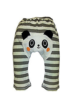 Dotty Fish Cotton Baby Summer Leggings - Grey and White Striped Panda - Grey & White
