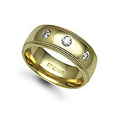 Jewelco London 9ct Yellow Gold 8mm Court Mill-Grain Diamond set 24pts Trilogy Wedding / Commitment Ring