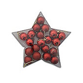 20 Multi Finish Mini Red Christmas Bauble Decorations in Star Shaped Box