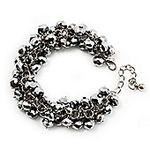 Metallic Silver Glass Bead Bracelet (Silver Tone Metal) - 16cm Length (Plus 5cm Extender)