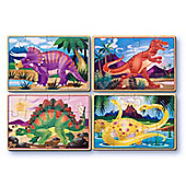 Melissa & Doug 4 Wooden Dinosaur Jigsaw Puzzles In A Box Age 3+