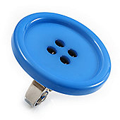 Light Blue Plastic 'Button' Ring (Silver Tone Metal) - Adjustable