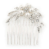 Bridal/ Wedding/ Prom/ Party Rhodium Plated Clear Swarovski Crystal, Glass Pearl Double Flower Hair Comb - 50mm