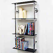 Maxwell - Wall Mounted Glass Cd Dvd Storage Shelves - Black / Silver