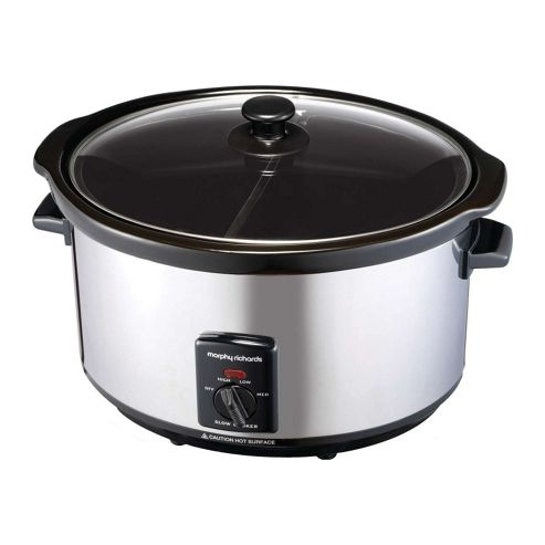 48762 6 Litre Partition Pot Slow Cooker in Polished Steel