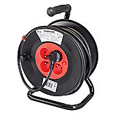 Silverline French Type E Cable Reel 230V 16A 25m 4 CEE 7/5 Sockets