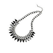 Black and Clear Crystal Spike Necklace