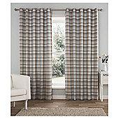 "Galloway Check Eyelet Curtains W168xL229cm (66x90""), Duck Egg"