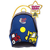 BushBaby Mini-Pack Toddler Backpack with Rein, Blue Tractor