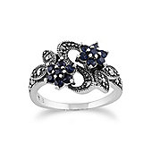 Gemondo Sterling Silver Art Nouveau 0.56ct Sapphire & Marcasite Flower Ring