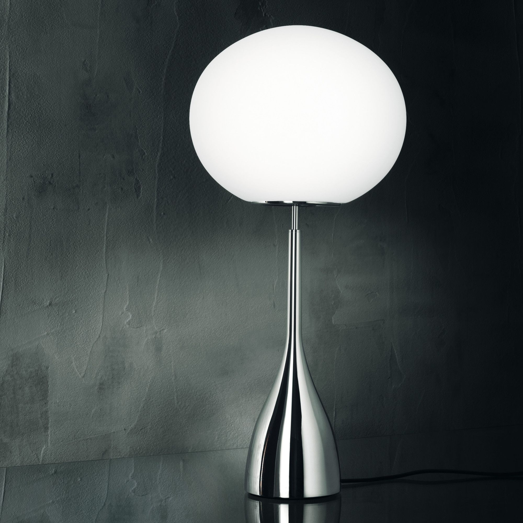 Leucos Sphera Ke14 White Satin Chromed Frame Table Lamp - Small