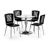 Glass Pedestal Table Set (Table + 4 Chairs)