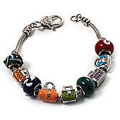 Silver Tone Lad's Charm Bracelet - 21cm Length (for larger wrists)
