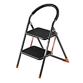 VonHaus Premium Heavy Duty Steel Folding 2 Step Ladder / Stool