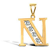 Jewelco London 9ct Gold CZ Initial ID Personal Pendant, Letter N - 1.7g