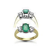 Jewelco London 18 Carat Yellow Gold 3 Stone Diamond-48pt Emerald-1.20ct Ring