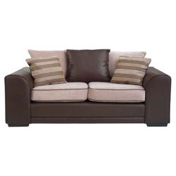 Inca leather effect & fabric sofabed mocha