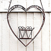 Large Hanging Heart Shaped Rustic Finish Pot / Plant Holder