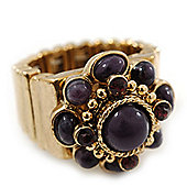 Vintage Purple Glass Stone, Crystal Floral Flex Ring In Burn Gold Finish - 20mm Diameter - Size 8/9