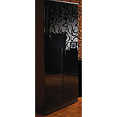 Welcome Furniture Mayfair Plain Midi Wardrobe - Black - Light Oak - Black