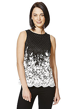 F&F Floral Lace Sleeveless Top - Black & White