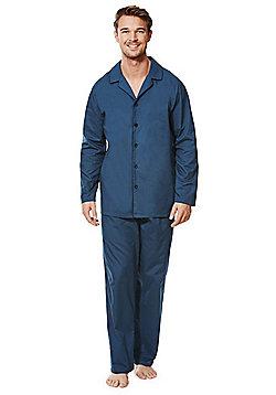 F&F Contrast Trim Woven Pyjamas - Navy