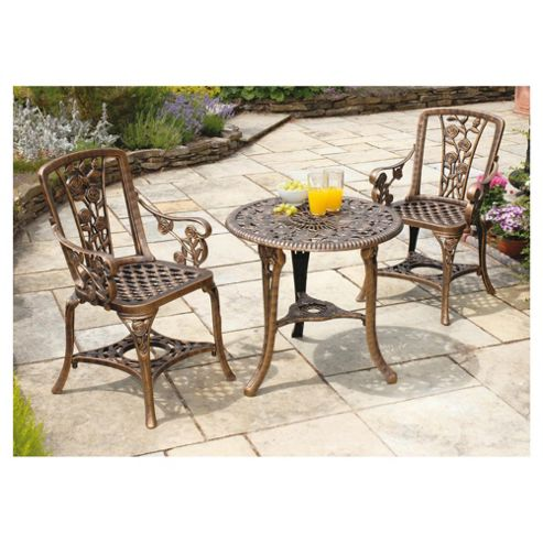 Rose Arm Chair Plastic Patio Set - Bronze