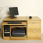 Enduro Home Office Desk / Workstation with Inbuilt Filing Cabinet and Printer / CPU Storage - Beech