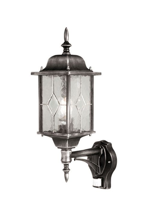 Elstead Lighting Wexford 1 Light Up Outdoor Wall Lantern in Black and Silver