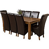 French Chateau Rustic Solid Oak 180 cm Dining Table with 8 Brown Montana Leather Chairs