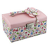 Pink and Floral Corsage Jewellery Box - Lockable