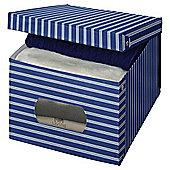 DomoPak Extra Large Garment Storage Box, Blue Stripe