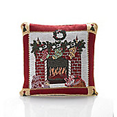 Christmas Fireplace Tapestry Cushion - 46x46cm