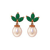 QP Jewellers Emerald & Pearl Petal Stud Earrings in 14K Rose Gold