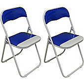 2 x Blue and White Padded Folding Chair - Great for, Office, Desk, Poker, Spare