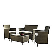 Home & Haus 4 Seater Casual Dining Set with Table & Cushions - Brown