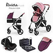 Riviera Plus 3 in 1 Silver Travel System, Dusty Pink & Plum