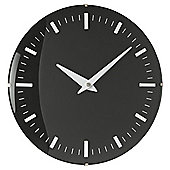 Tesco Black Domed 30cm Glass Raised Marker Dial Wall Clock  Black