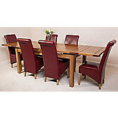 Farmhouse Rustic Solid Oak Extending 200 - 280 cm Dining Table with 6 Burgundy Montana Chairs